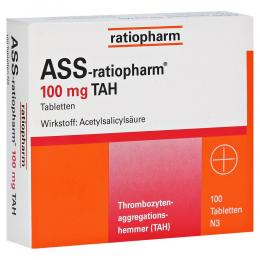 ASS-ratiopharm 100mg TAH Tabletten 100 Stück